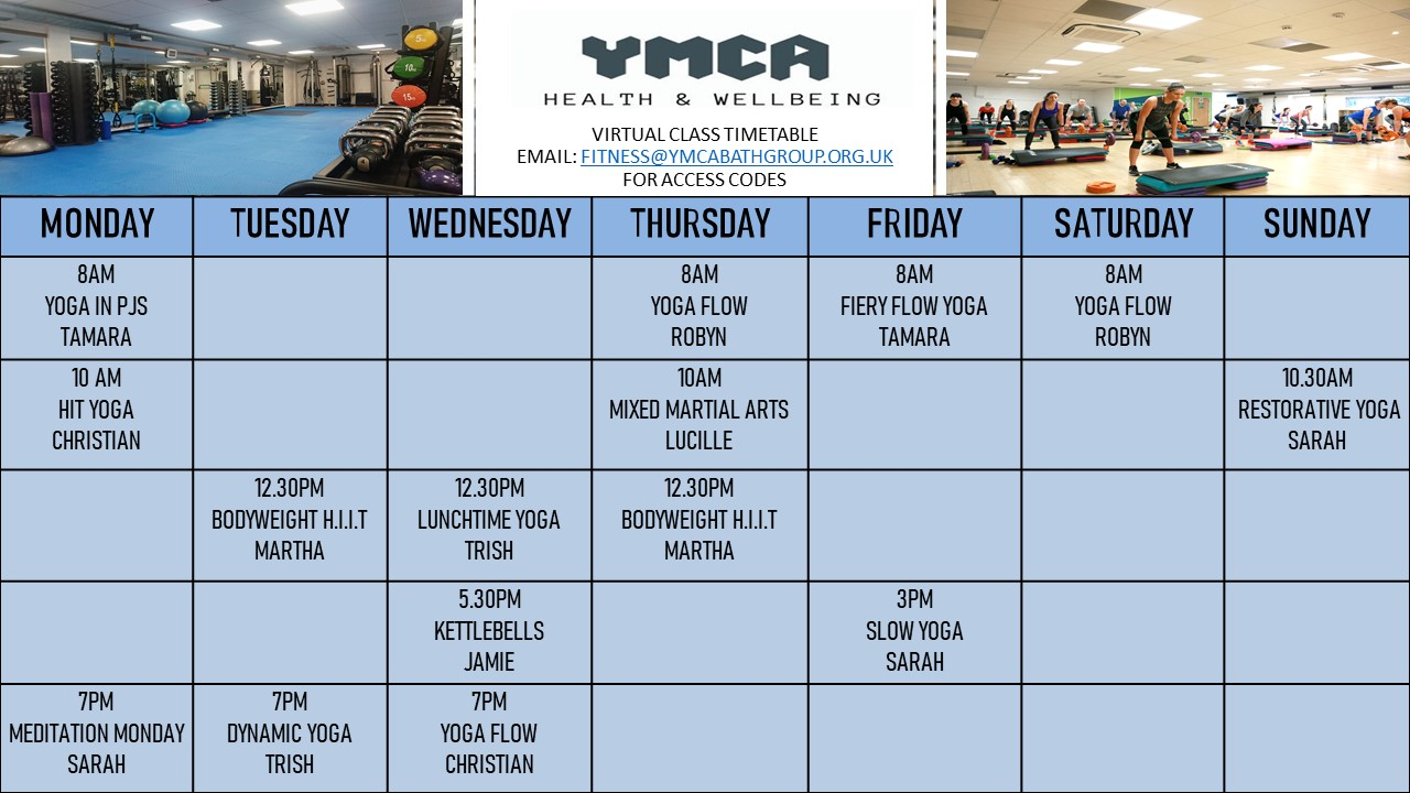 YMCA Virtual Class Timetable